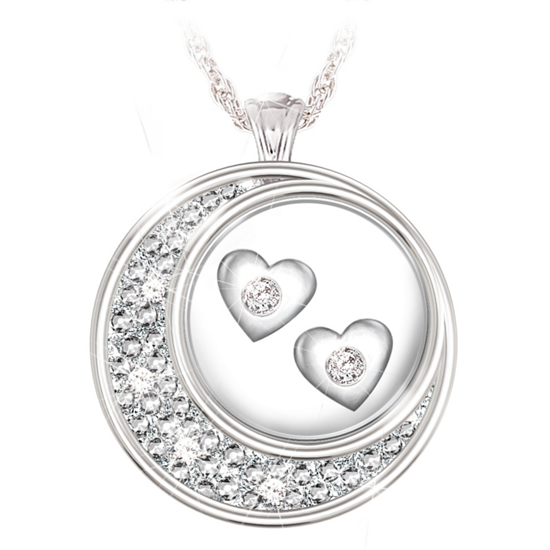 The Bradford Exchange Sterling Silver And Diamond Pendant Necklace: I Love You To The Moon And Back at Sears.com