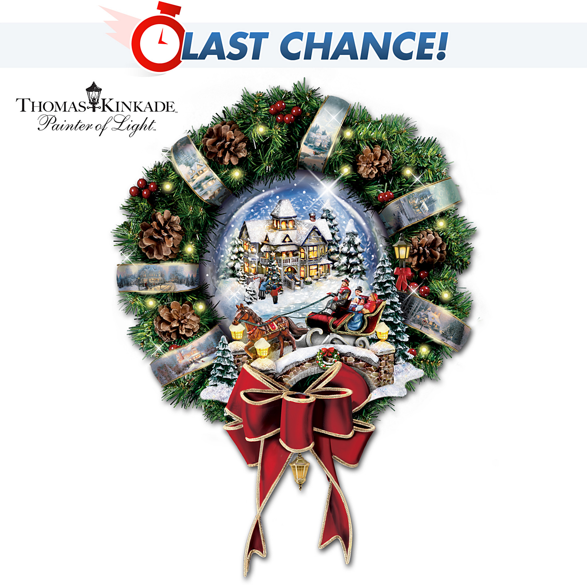 "The Bradford Exchange Thomas Kinkade ""Let It Snow"" Pre-Lit And Pre-Decorated Holiday Wreath at Sears.com"