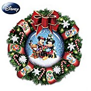 "The Bradford Exchange Disney Mickey, Minnie And Pluto ""Let It Snow"" Snow Dome Musical Wreath: Lights Up! at Sears.com"