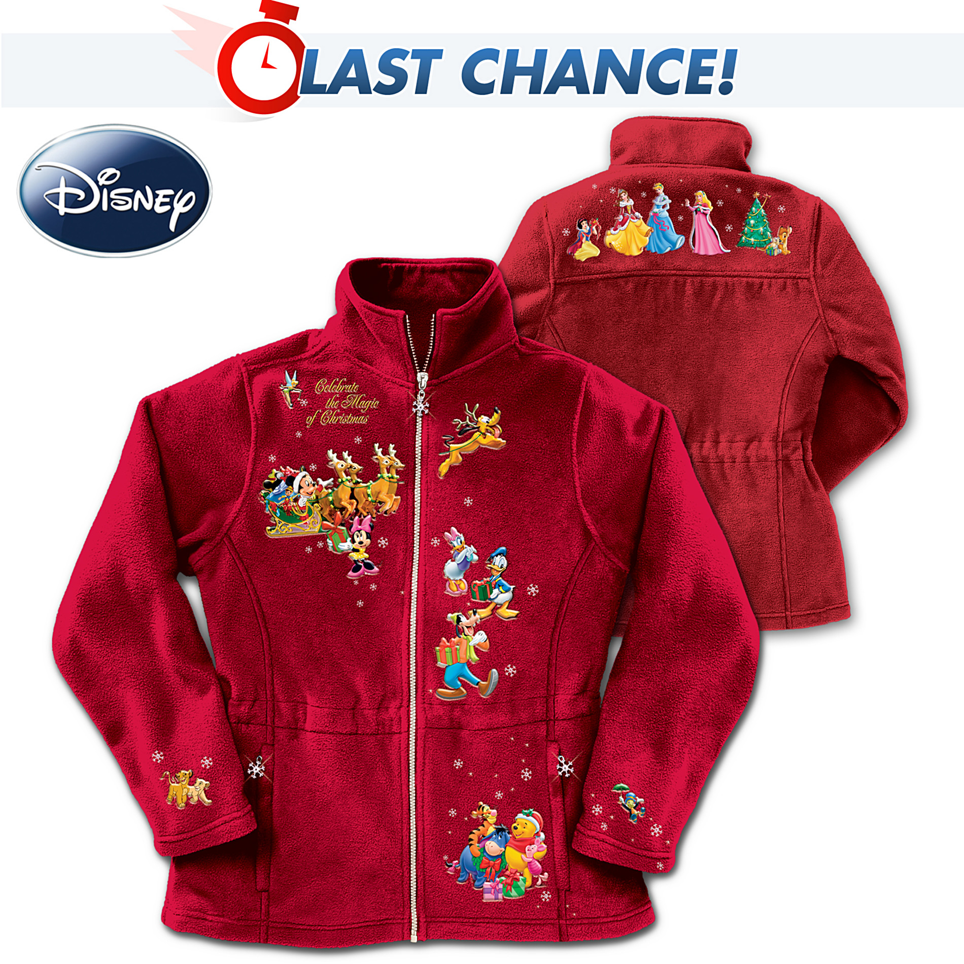 The Bradford Exchange Disney Characters Fleece Jacket: Magic Of Christmas at Sears.com