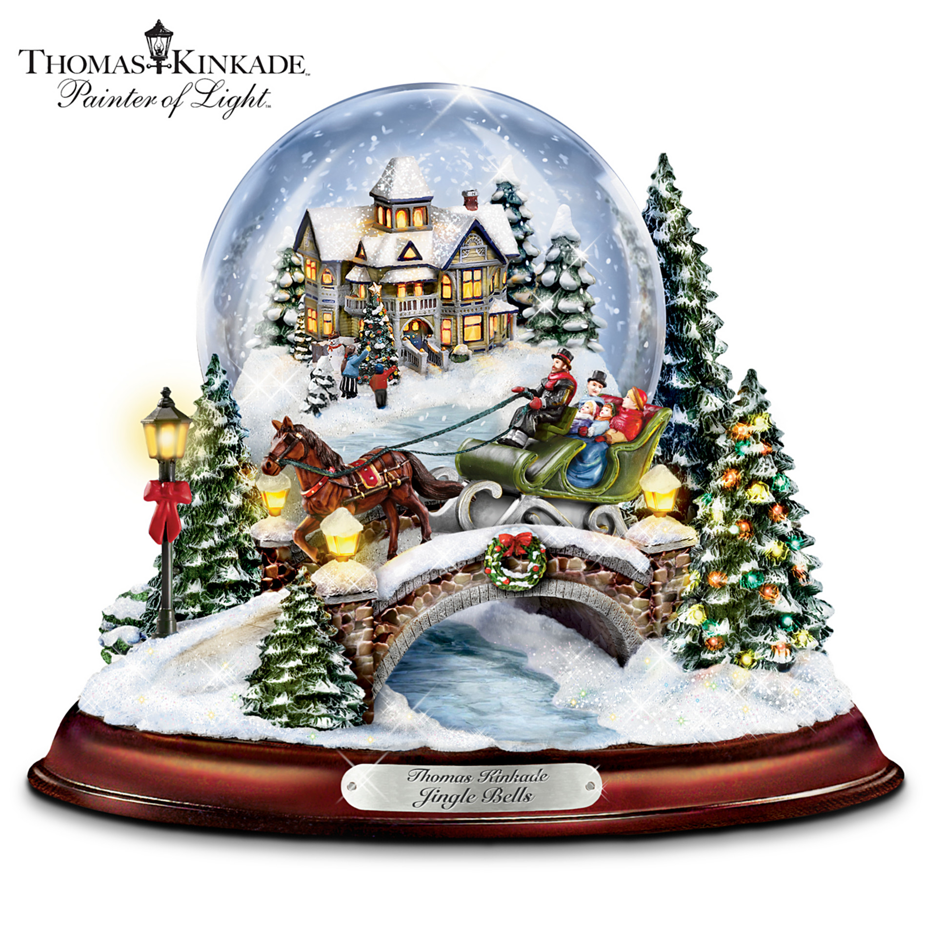 The Bradford Exchange Thomas Kinkade Jingle Bells Illuminated Musical Christmas Snowglobe at Sears.com