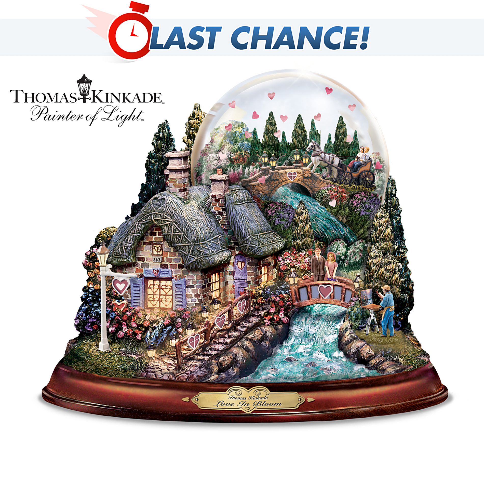 "The Bradford Exchange Thomas Kinkade ""Love In Bloom"" Musical Water Globe: Love Is In The Air at Sears.com"