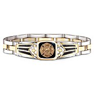 The Bradford Exchange Firefighters Bracelet For Men: Stainless Steel With Black Onyx Center Stone at Sears.com