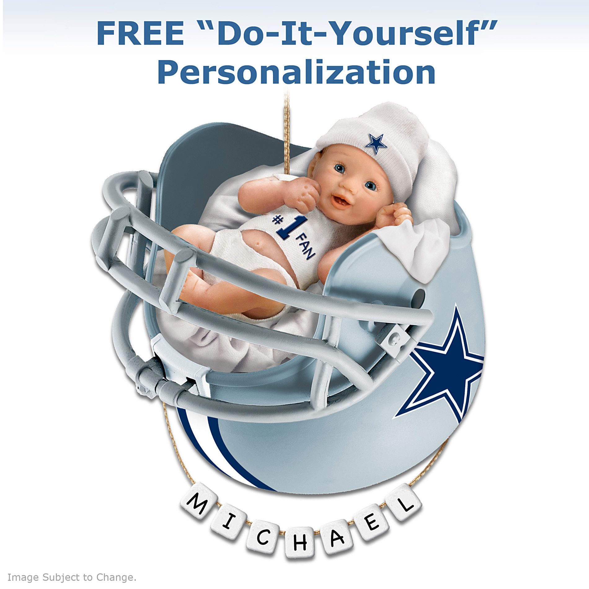 The Bradford Exchange Dallas Cowboys Personalized Baby's First Christmas Ornament at Sears.com