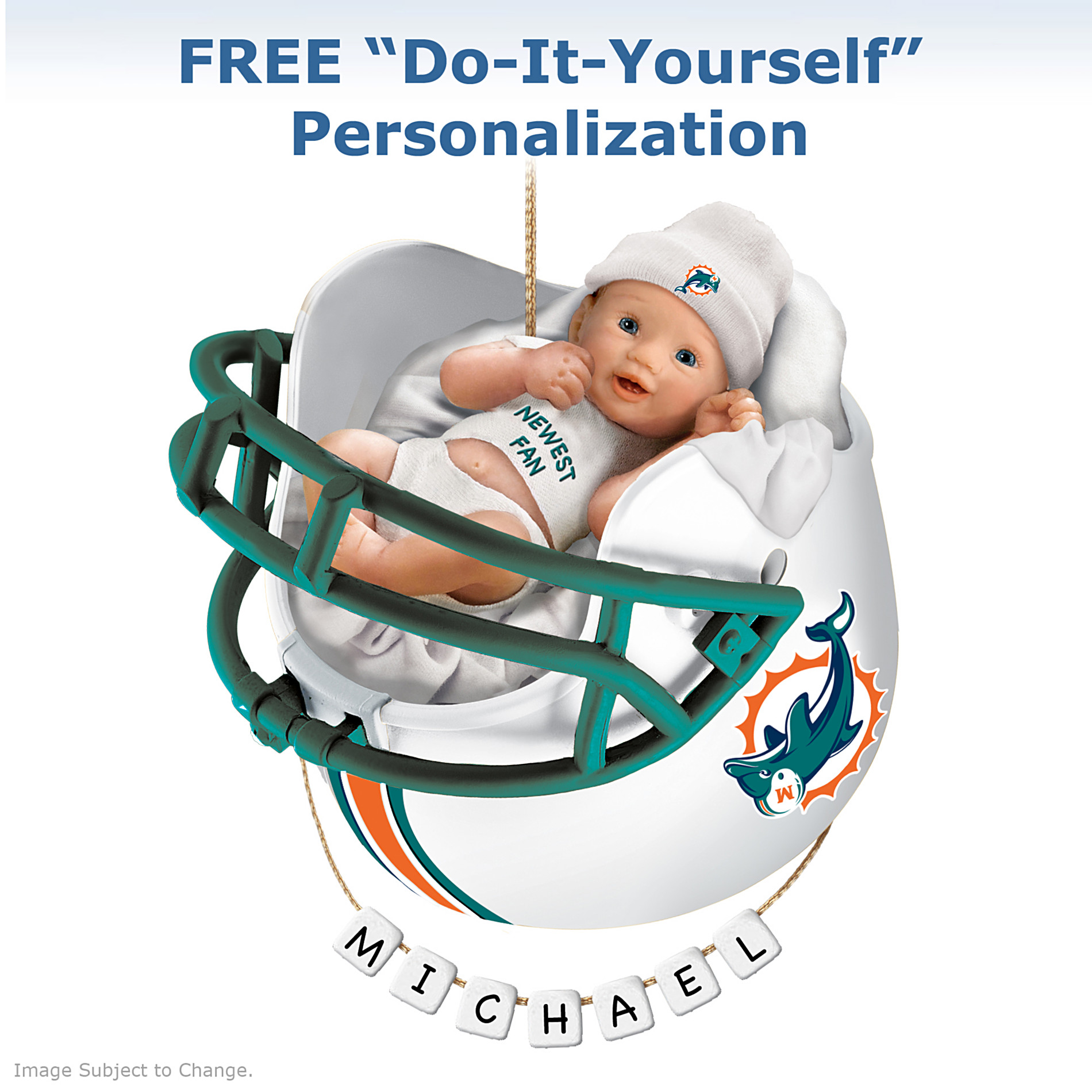 The Bradford Exchange Miami Dolphins Personalized Baby's First Christmas Ornament at Sears.com