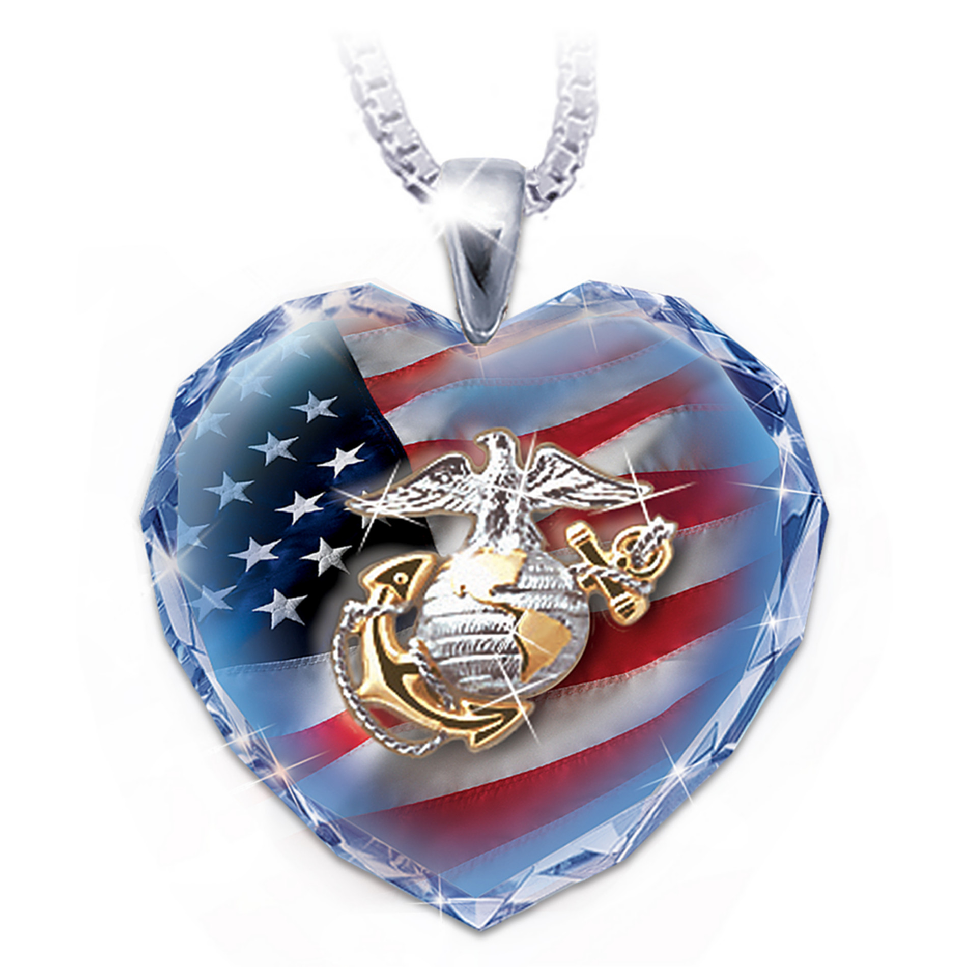 The Bradford Exchange Military Crystal Heart Pendant Necklaces at Sears.com