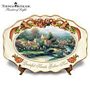 "The Bradford Exchange Thomas Kinkade's Lamplight Village ""Grateful Hearts Gather Here"" Thanksgiving Art Platter at Sears.com"