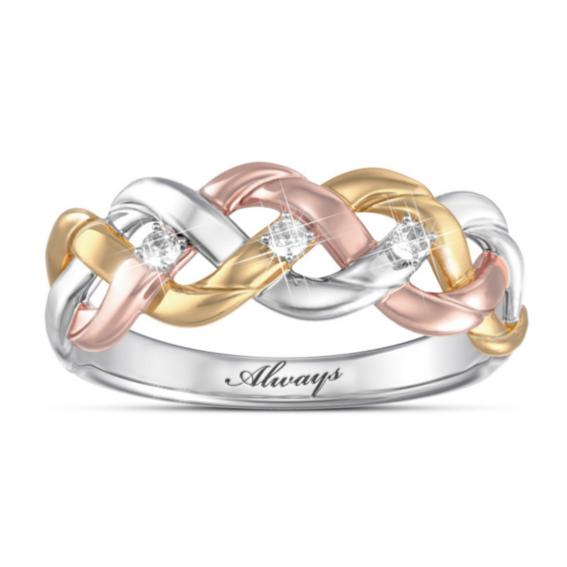 "The Bradford Exchange ""Strength Of Our Faith"" Three-Cord Tri-Color Diamond Ring at Sears.com"