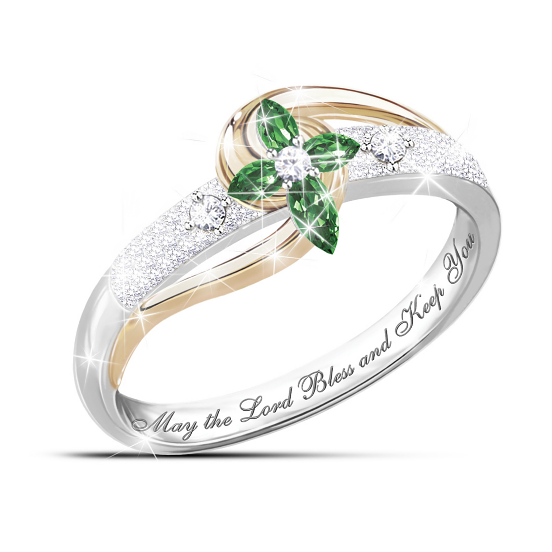 The Bradford Exchange Divine Inspiration Emerald & Diamond Sterling Silver Cross Ring at Sears.com