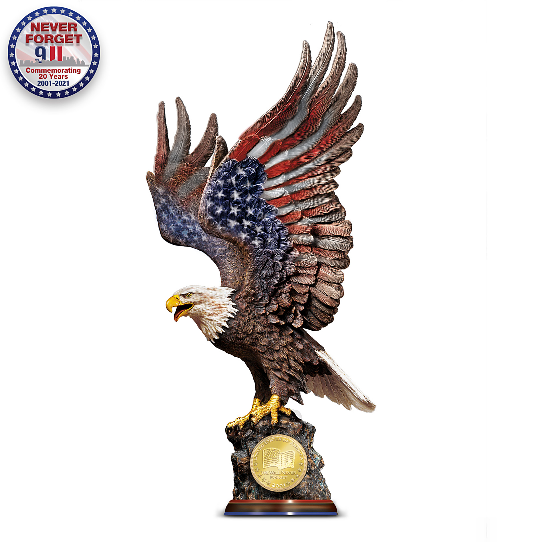 The Bradford Exchange We Will Never Forget: Patriotic Eagle Sculpture Commemorating 9/11/2001 at Sears.com