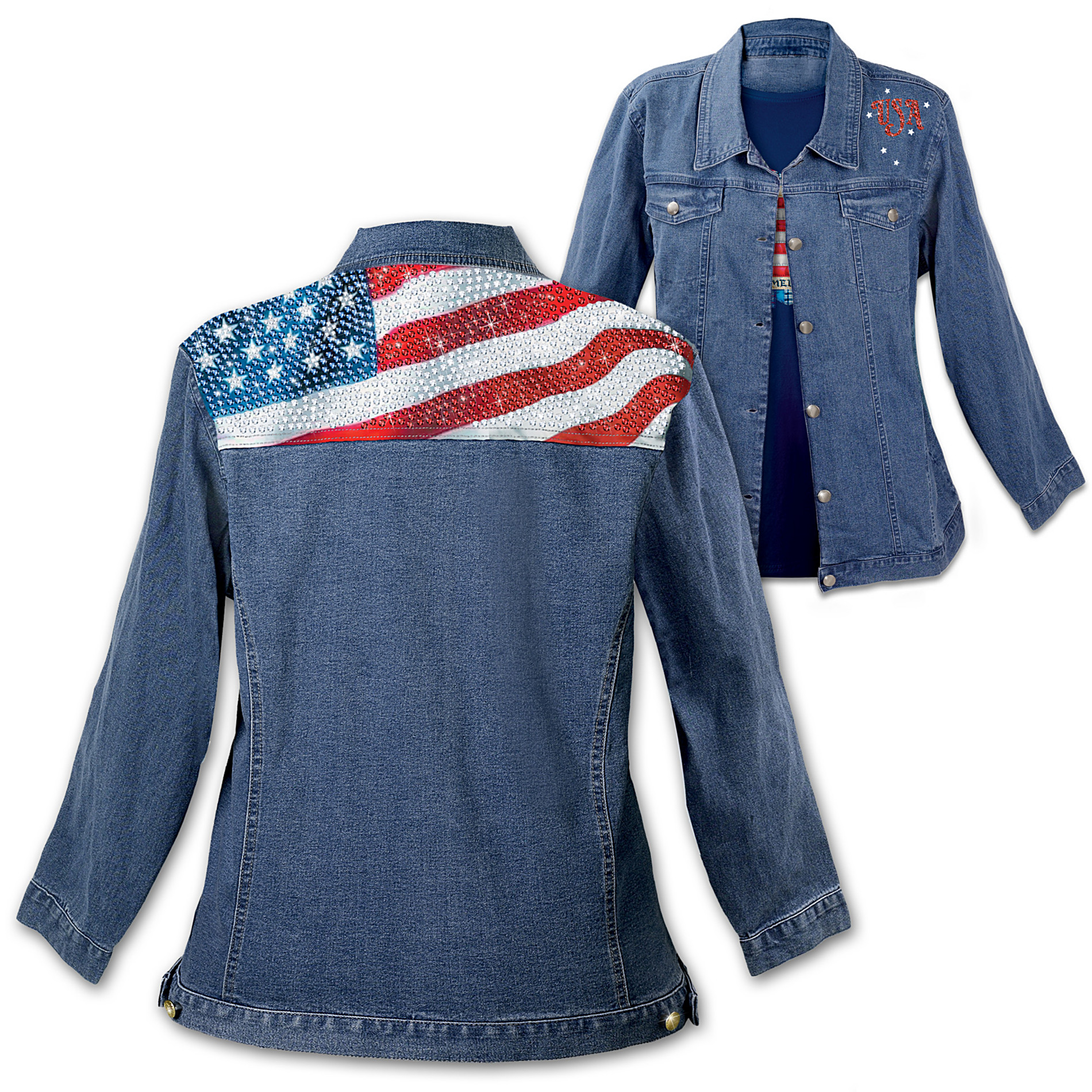 The Bradford Exchange American Flag Women's Denim Jacket: American Sparkle at Sears.com