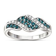 The Bradford Exchange Blue And White Diamond Ring: Cascade Of Beauty at Sears.com