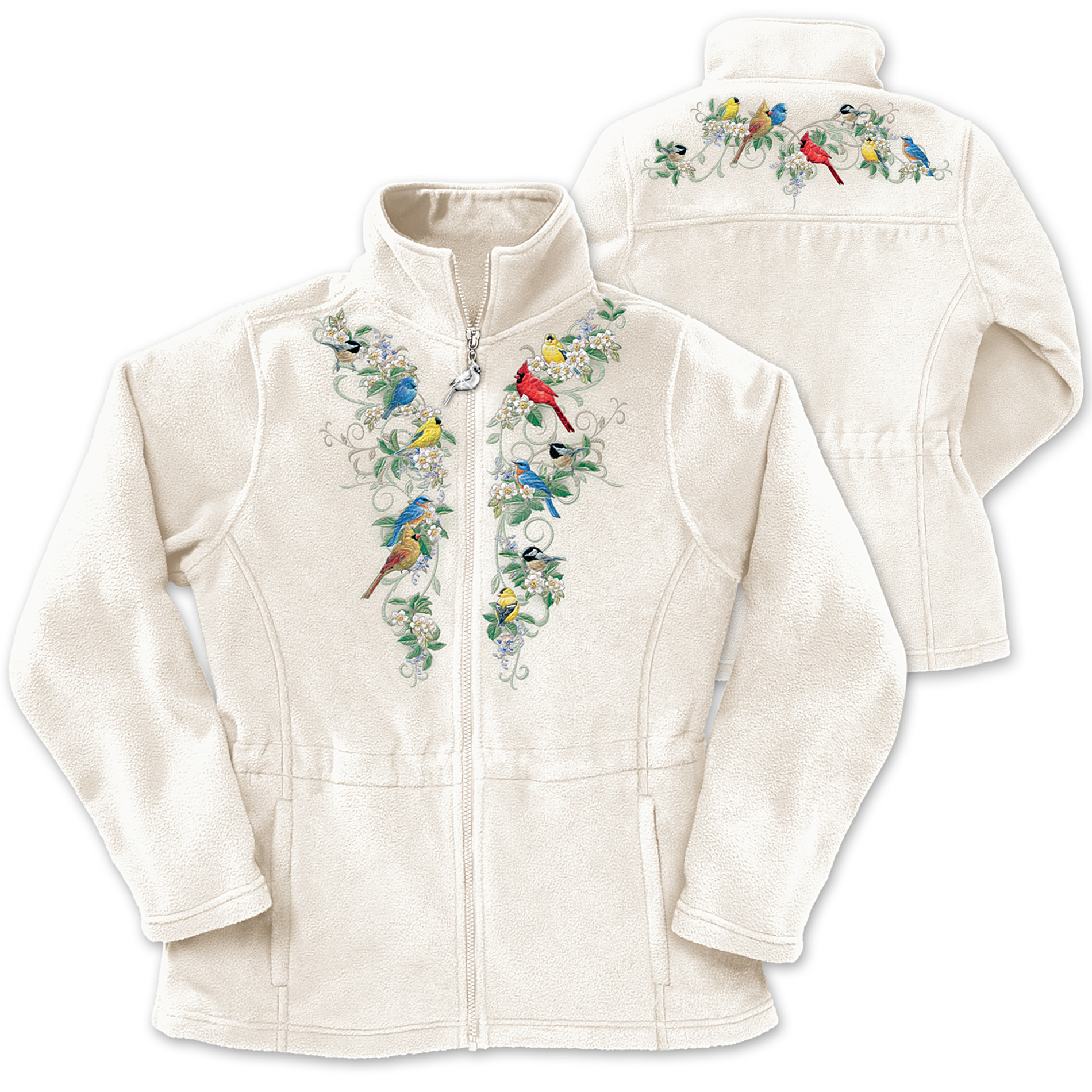 The Bradford Exchange Songbird And Floral Art Women's Fleece Jacket: Nature's Symphony at Sears.com