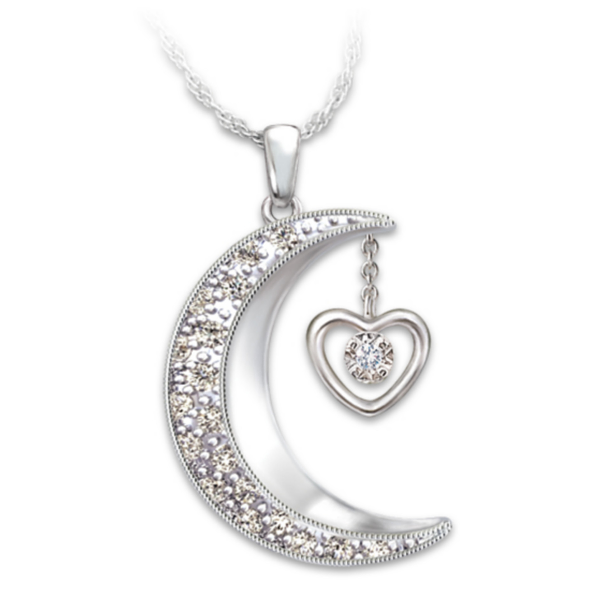 The Bradford Exchange Moon-Shaped Diamond Pendant Necklace: I Love You To The Moon And Back at Sears.com