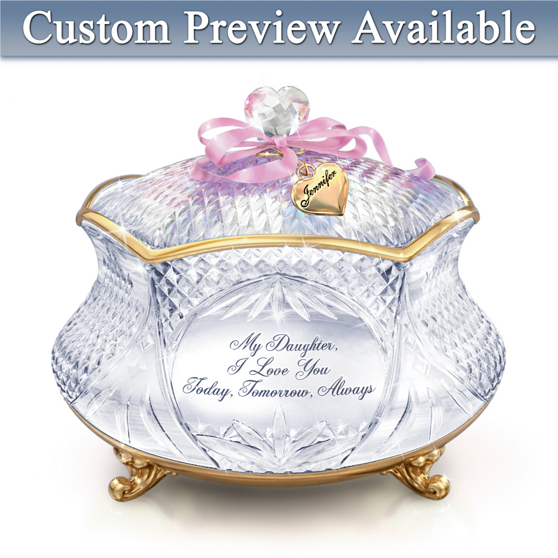 The Bradford Exchange Daughter Personalized Crystal Music Box: My Daughter, I Love You at Sears.com