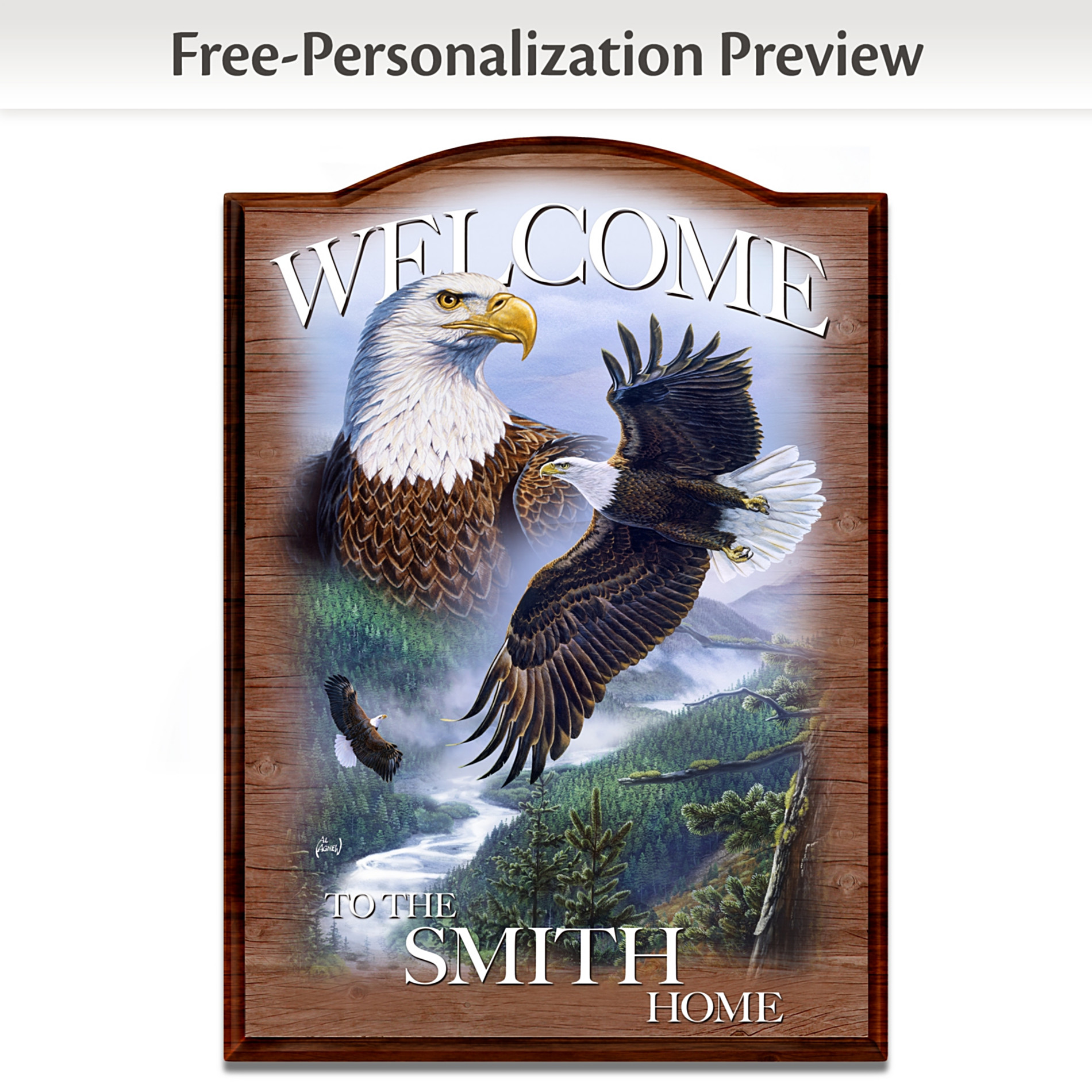 The Bradford Exchange Bald Eagle Personalized Wall Decor Welcome Sign: Soaring Guardians at Sears.com