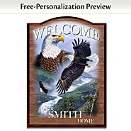 The Bradford Exchange Bald Eagle Personalized Welcome Sign: Soaring Guardians at Sears.com