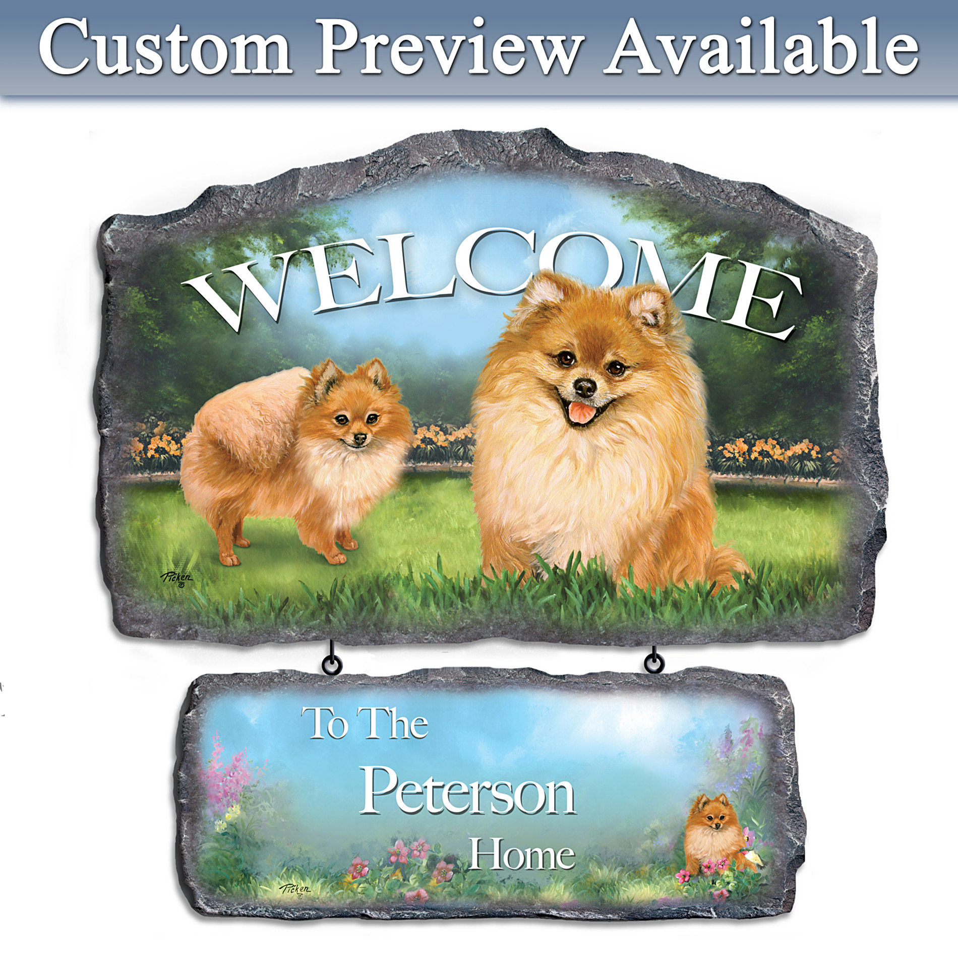The Bradford Exchange Lovable Pomeranians Personalized Welcome Sign Wall Decor at Sears.com