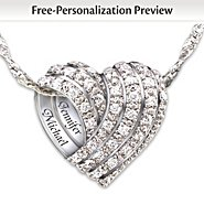 The Bradford Exchange Personalized Silver Diamond Pendant Necklace: All My Love at Sears.com