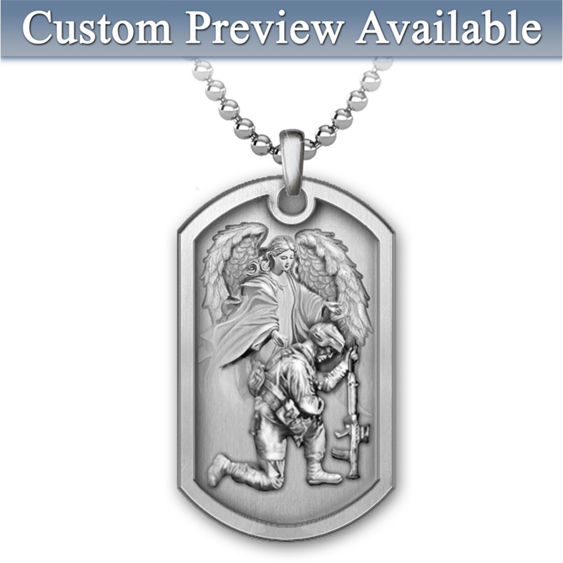 The Bradford Exchange Personalized Men's Dog Tag Pendant Necklace: Bless This Soldier at Sears.com