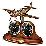 The Bradford Exchange Tabletop Clock: P-51 Mustang 70th Anniversary Thermometer Tabletop Clock at Sears.com