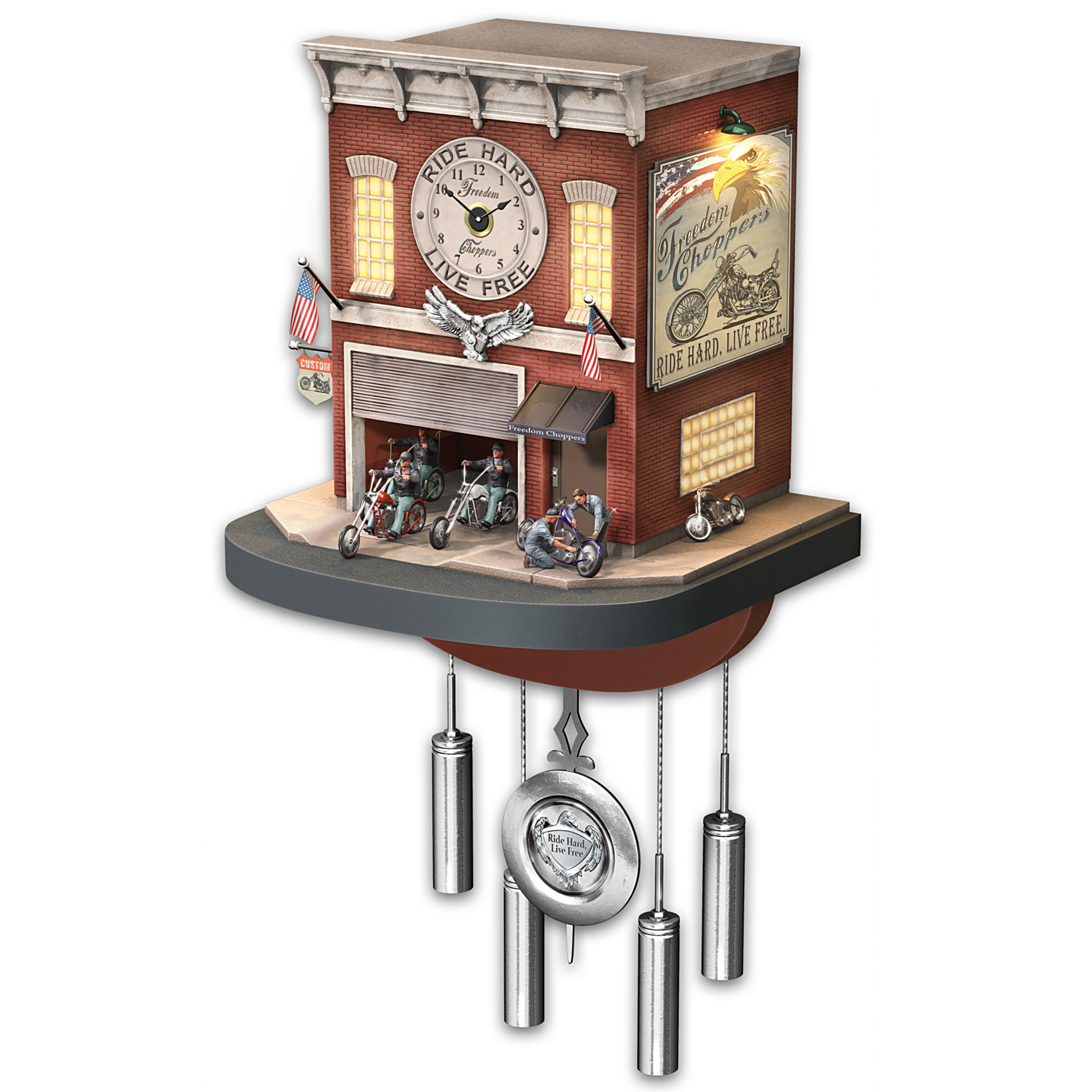 The bradford exchange freedom rider eagle and chopper figurine motorcycle gift from - Motorcycle cuckoo clock ...