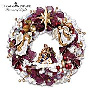 The Bradford Exchange Thomas Kinkade Christmas Blessings Illuminated Wreath With Angels And Nativity Scene at Sears.com