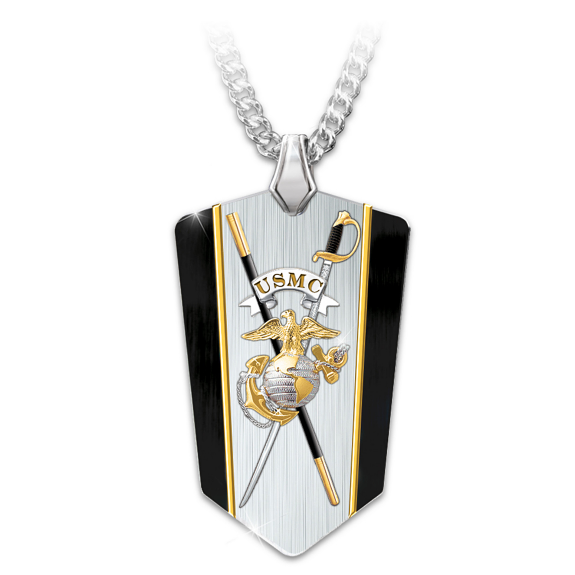 The Bradford Exchange Necklace: USMC Semper Fi Reversible Dog Tag Shield Pendant Necklace at Sears.com