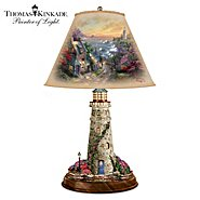 The Bradford Exchange Thomas Kinkade Lamp With The Village Lighthouse Artwork On Shade And Lighthouse Base at Sears.com