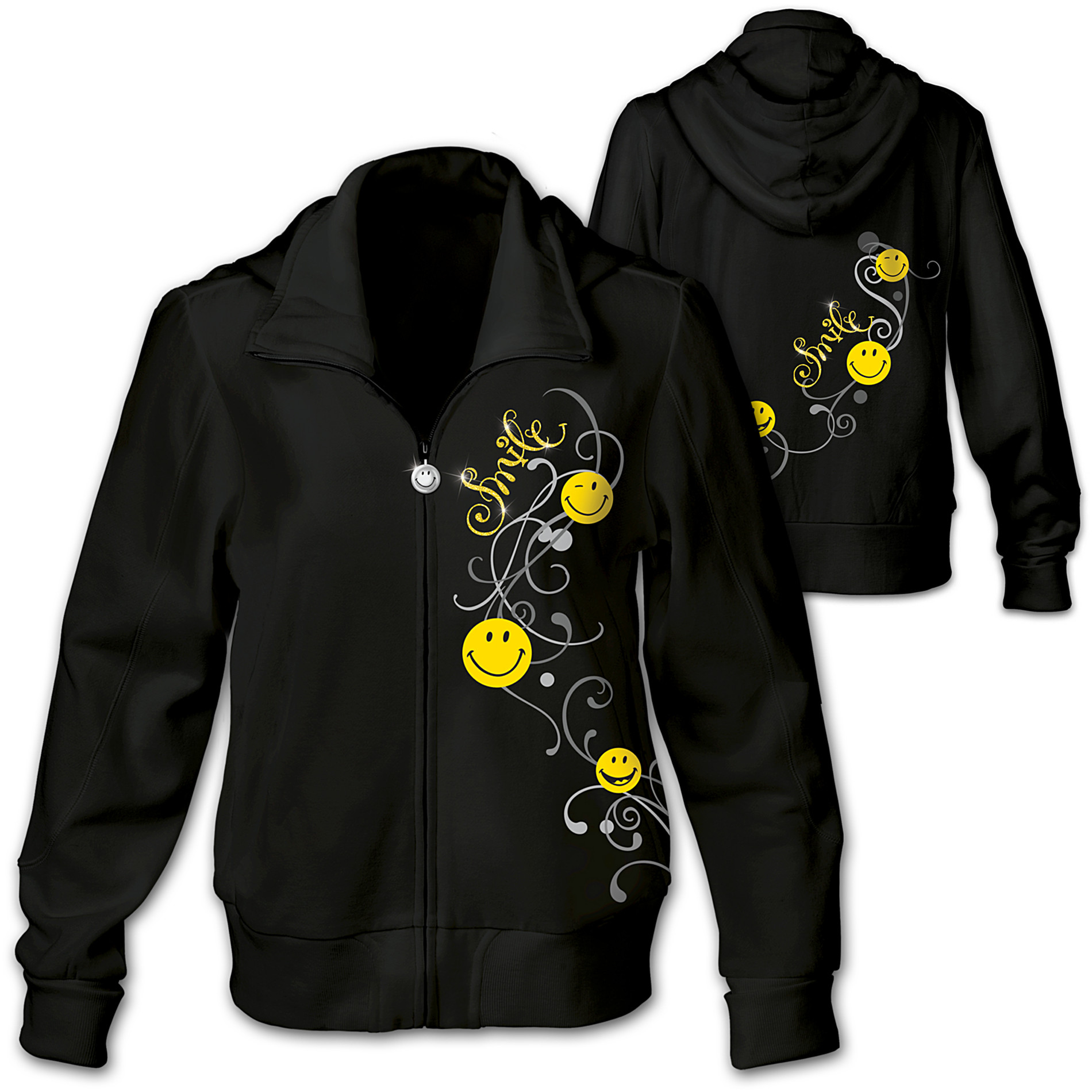 The Bradford Exchange Put A Happy Smile On Your Face Women's Hoodie With Glitter And Scrollwork at Sears.com