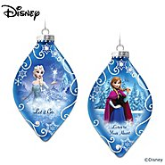 The Bradford Exchange Disney FROZEN Christmas Tree Ornaments Set One: Let It Go And Listen To Your Heart With Elsa And Anna at Sears.com