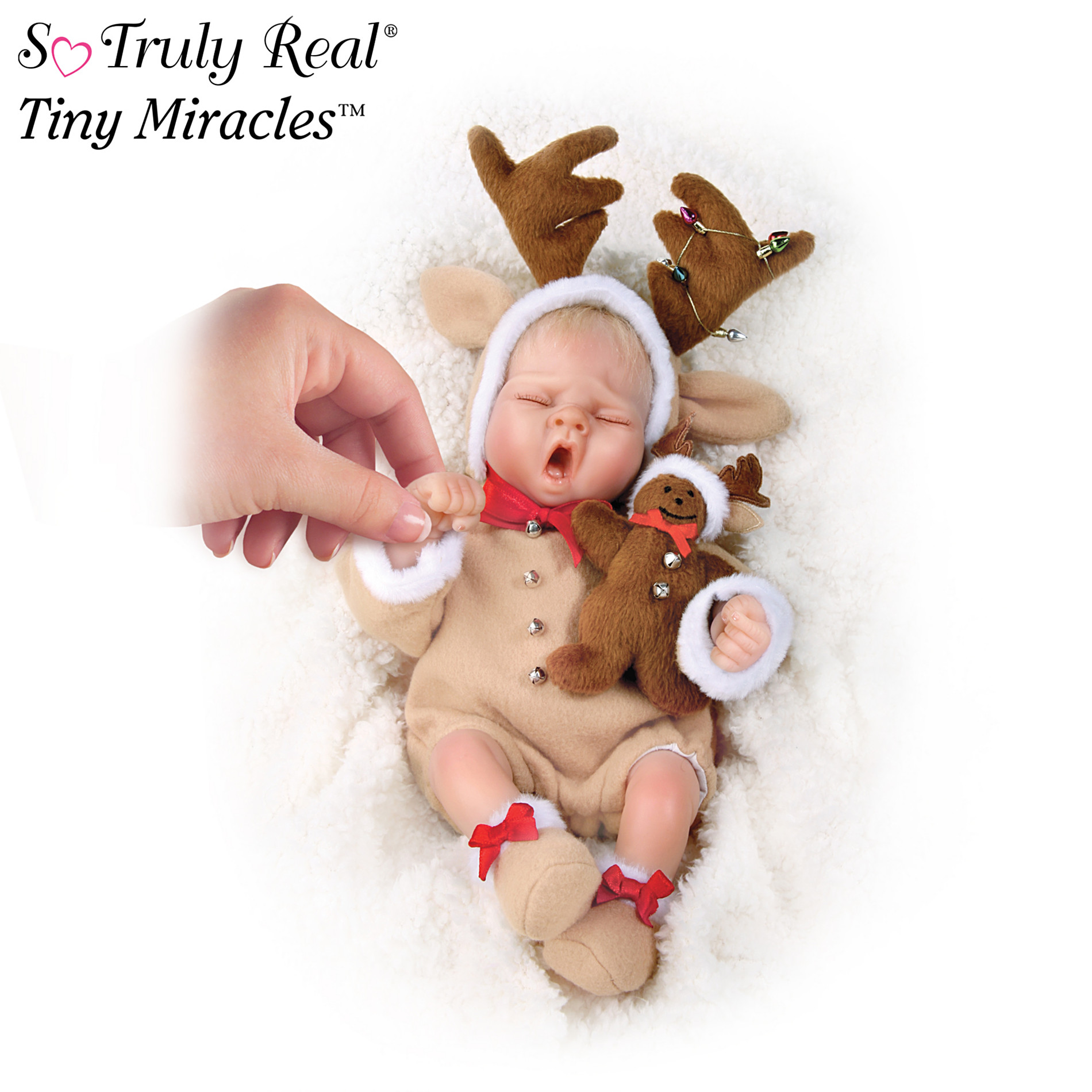 The Ashton-Drake Galleries Tiny Miracles Ringle Deer Miniature Lifelike Baby Doll In Reindeer Outfit at Sears.com
