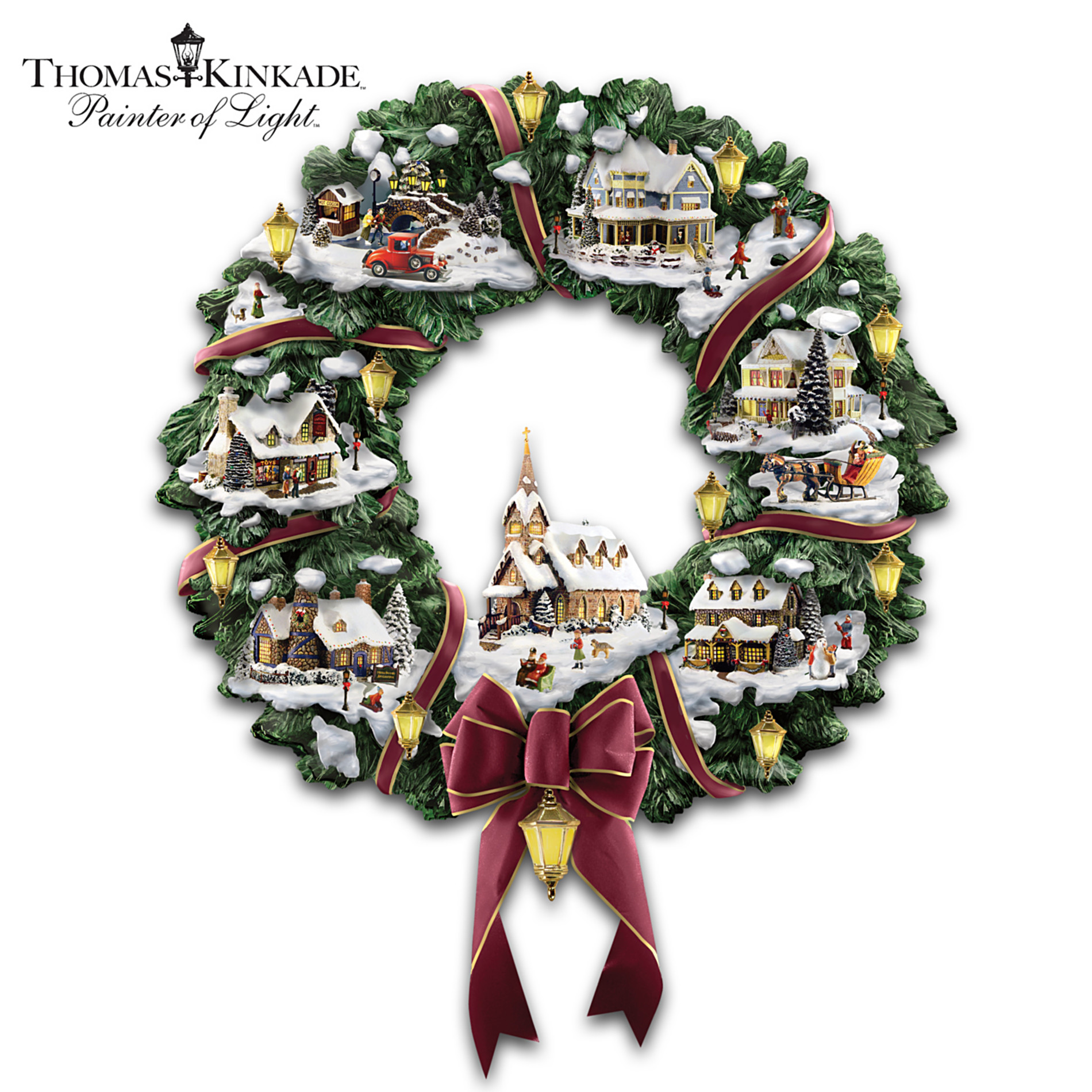 The Hamilton Collection Thomas Kinkade Victorian Christmas Village Wreath at Sears.com