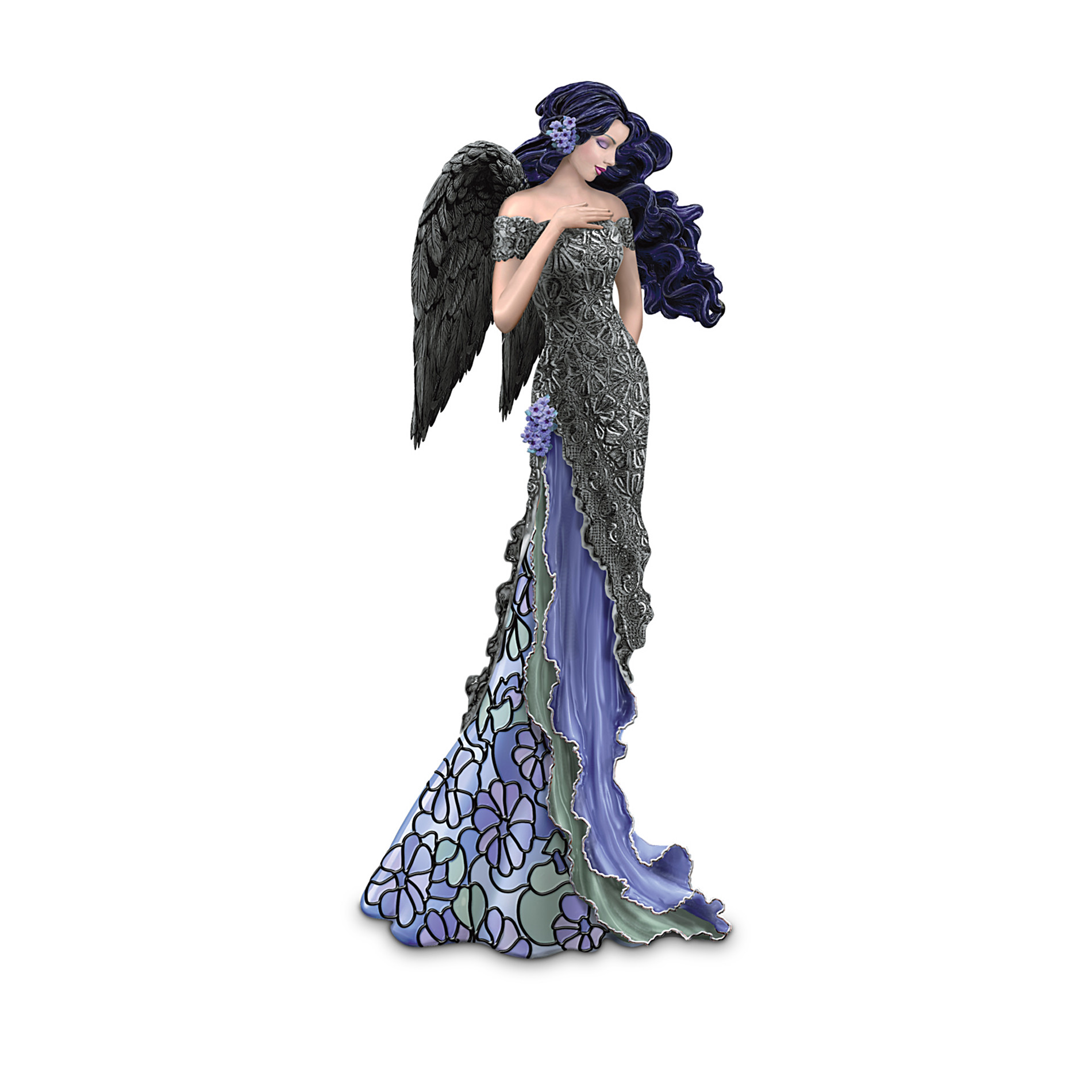 The Hamilton Collection Angelic Moonlit Beauty Angel Figurine With Louis Comfort Tiffany-Style Stained-Glass Art at Sears.com
