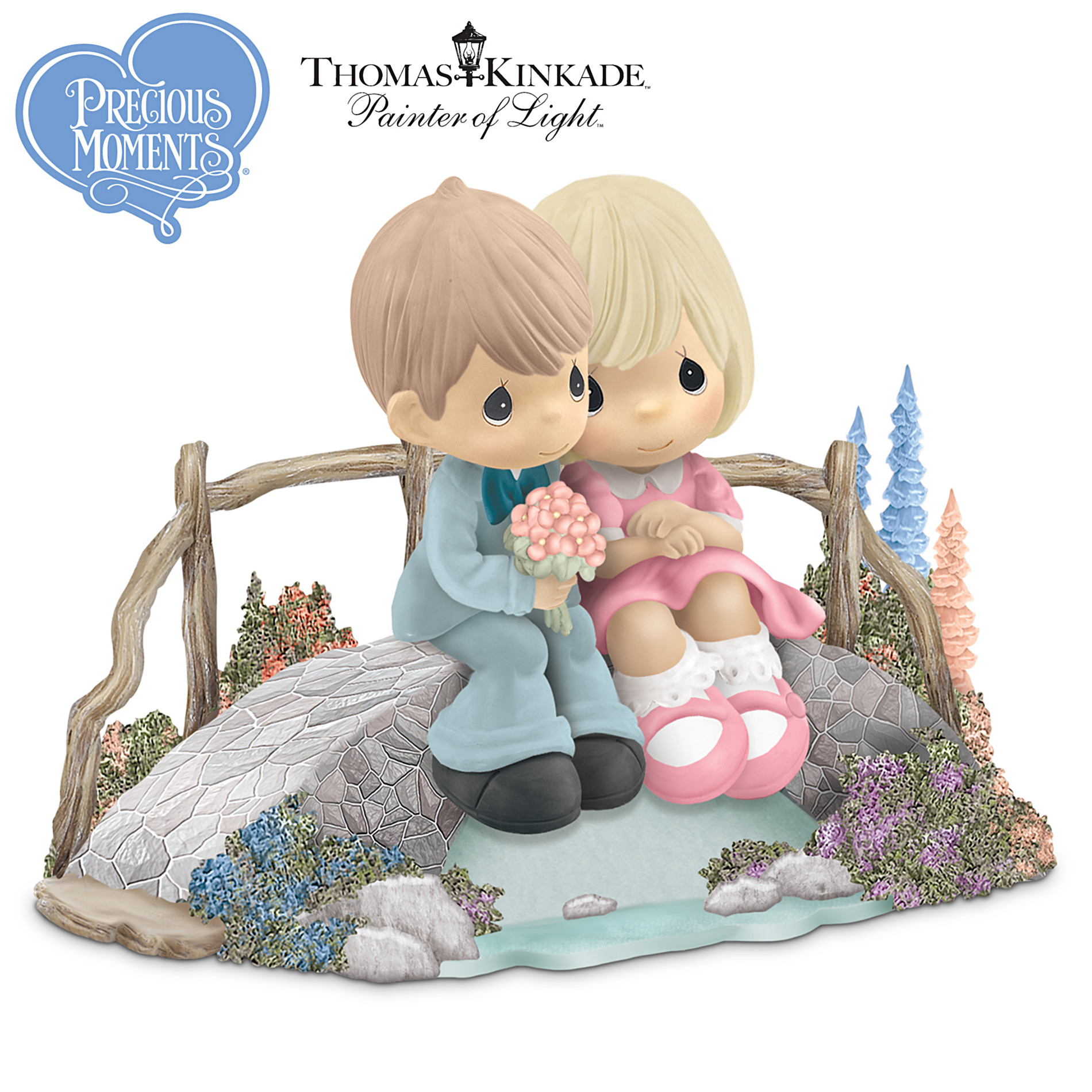 The Hamilton Collection Thomas Kinkade Precious Moments Figurine: Love Bridges Our Hearts at Sears.com