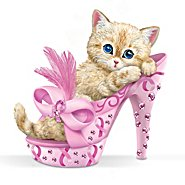 The Hamilton Collection Figurine: Purr-ing For Hope Breast Cancer Awareness Figurine at Sears.com