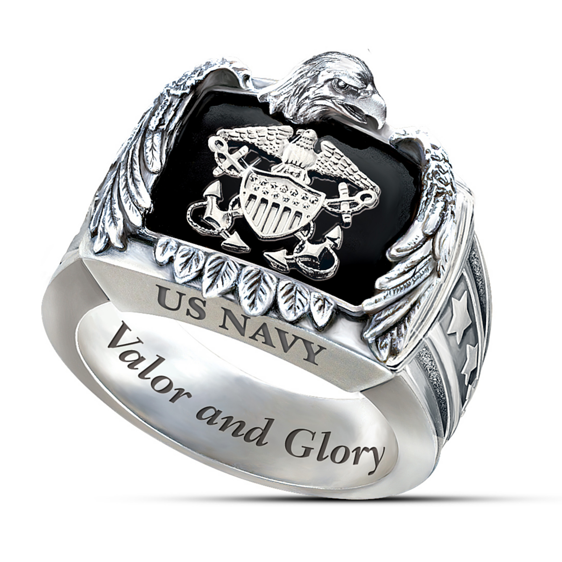 The Bradford Exchange Sterling Silver US Navy Ring At Sears