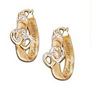 The Bradford Exchange Love Always Diamond Hoop Earrings With Hearts at Sears.com