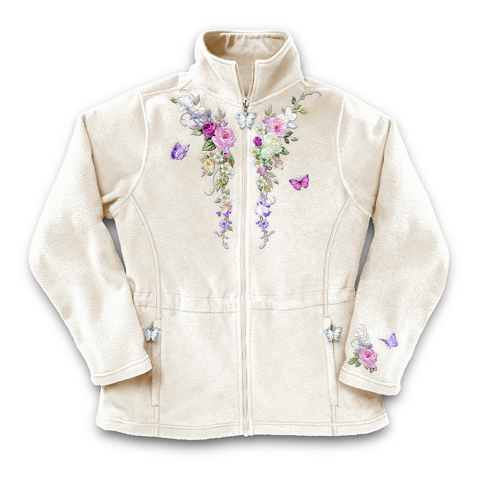The Bradford Exchange Lena Liu Garden's Perfection Women's Fleece Jacket With Floral Embroidery: Unique Garden Lover Gift at Sears.com