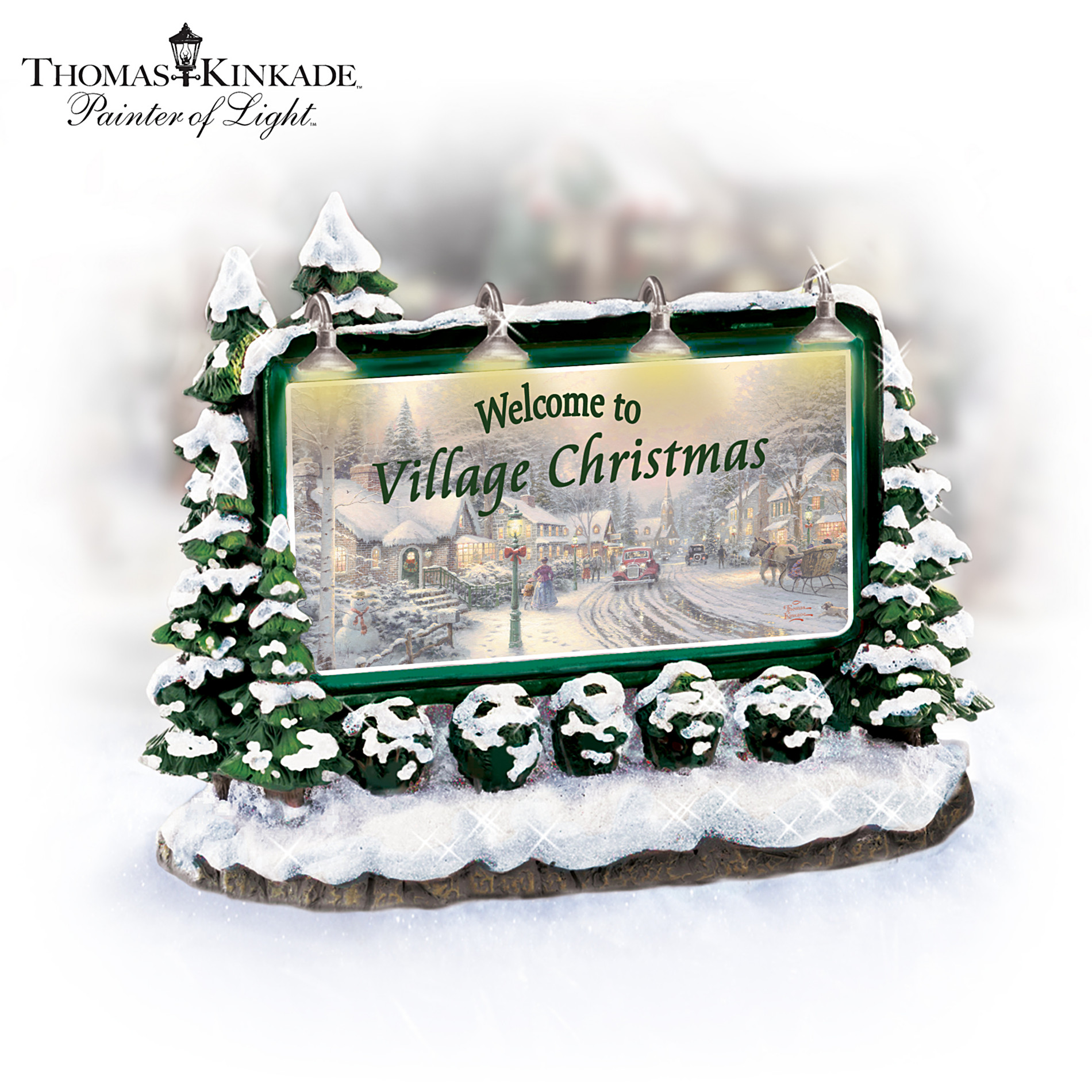 Hawthorne Village Thomas Kinkade Welcome To Village Christmas Lighted Sign Village Accessory at Sears.com