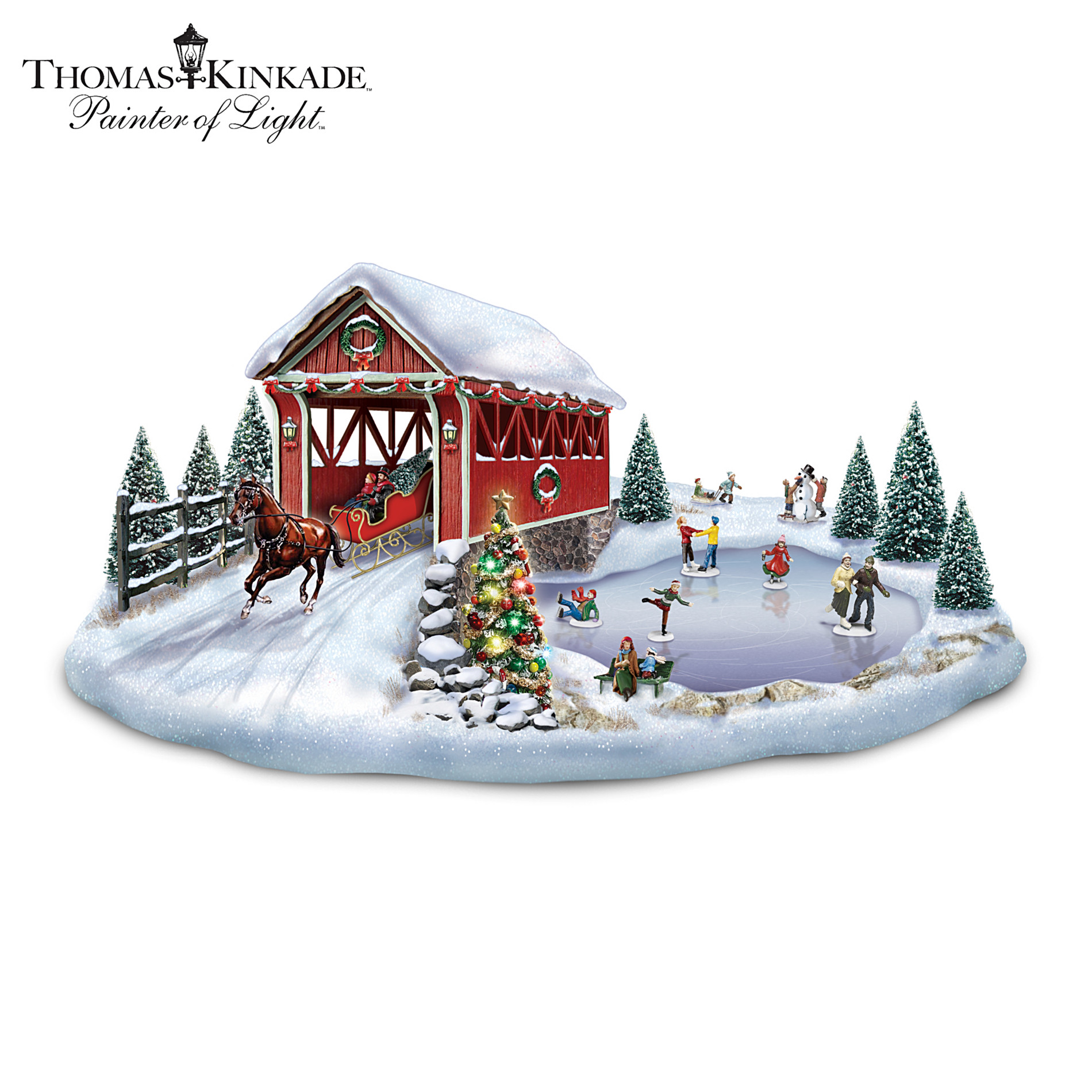 Hawthorne Village Sculpture Set: Thomas Kinkade Holiday Enchantment Village Sculpture Set at Sears.com