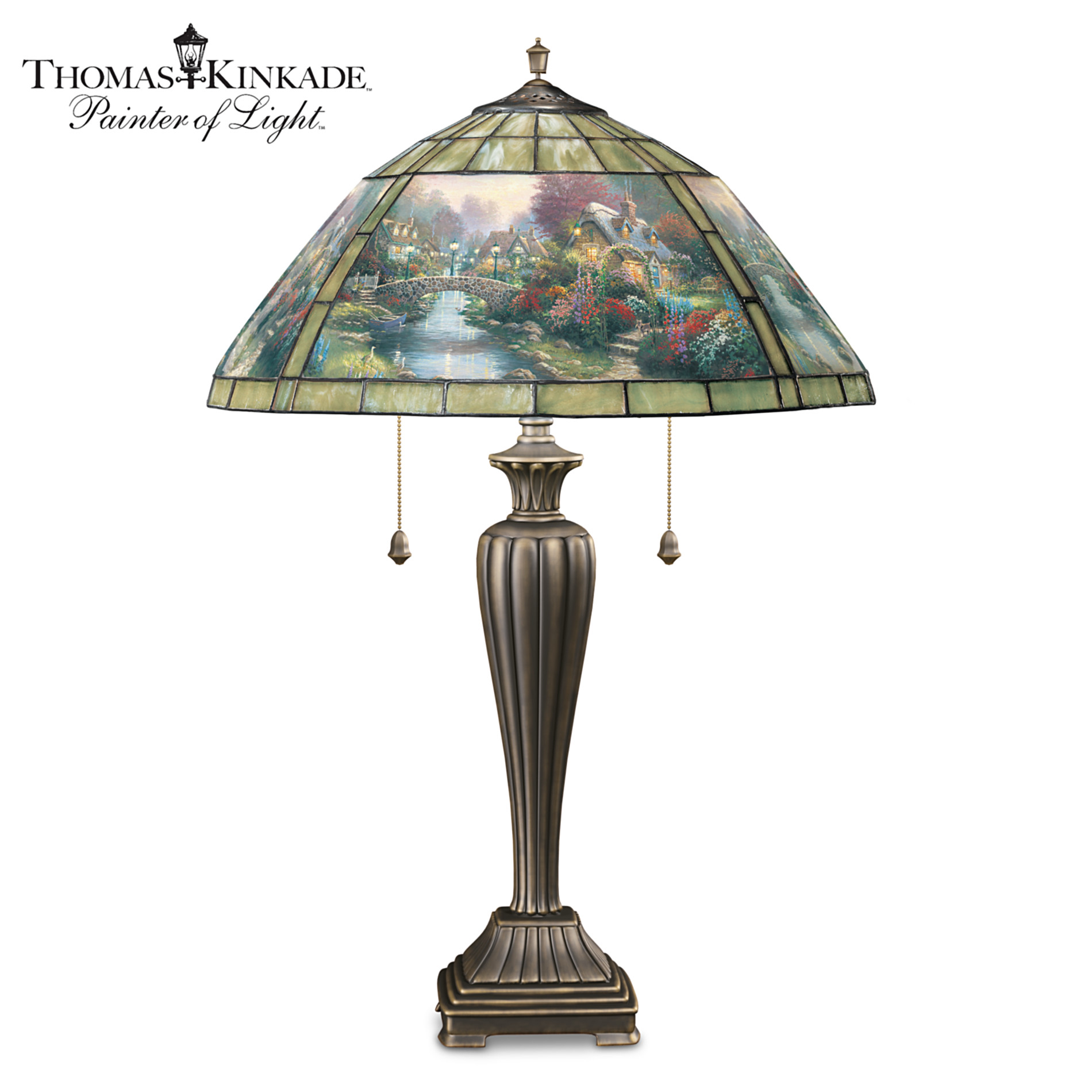 The Bradford Editions Thomas Kinkade Lamplight Bridge Unique Stained Glass Table Lamp at Sears.com