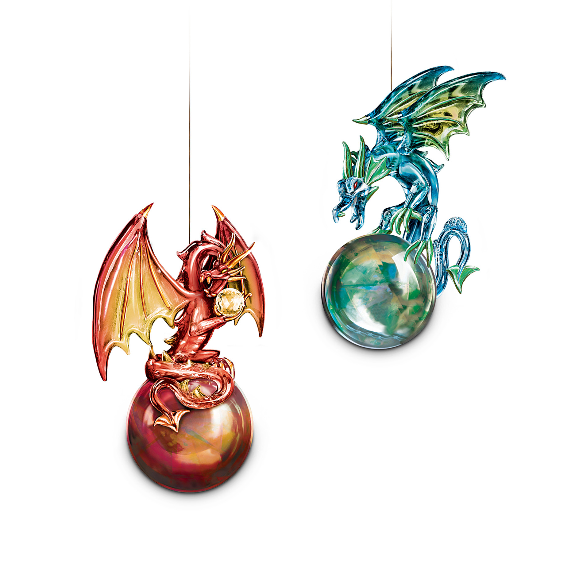 The Bradford Editions Mythic Reflections Ornament Collection: Fire and Water Dragon Ornament Set One at Sears.com