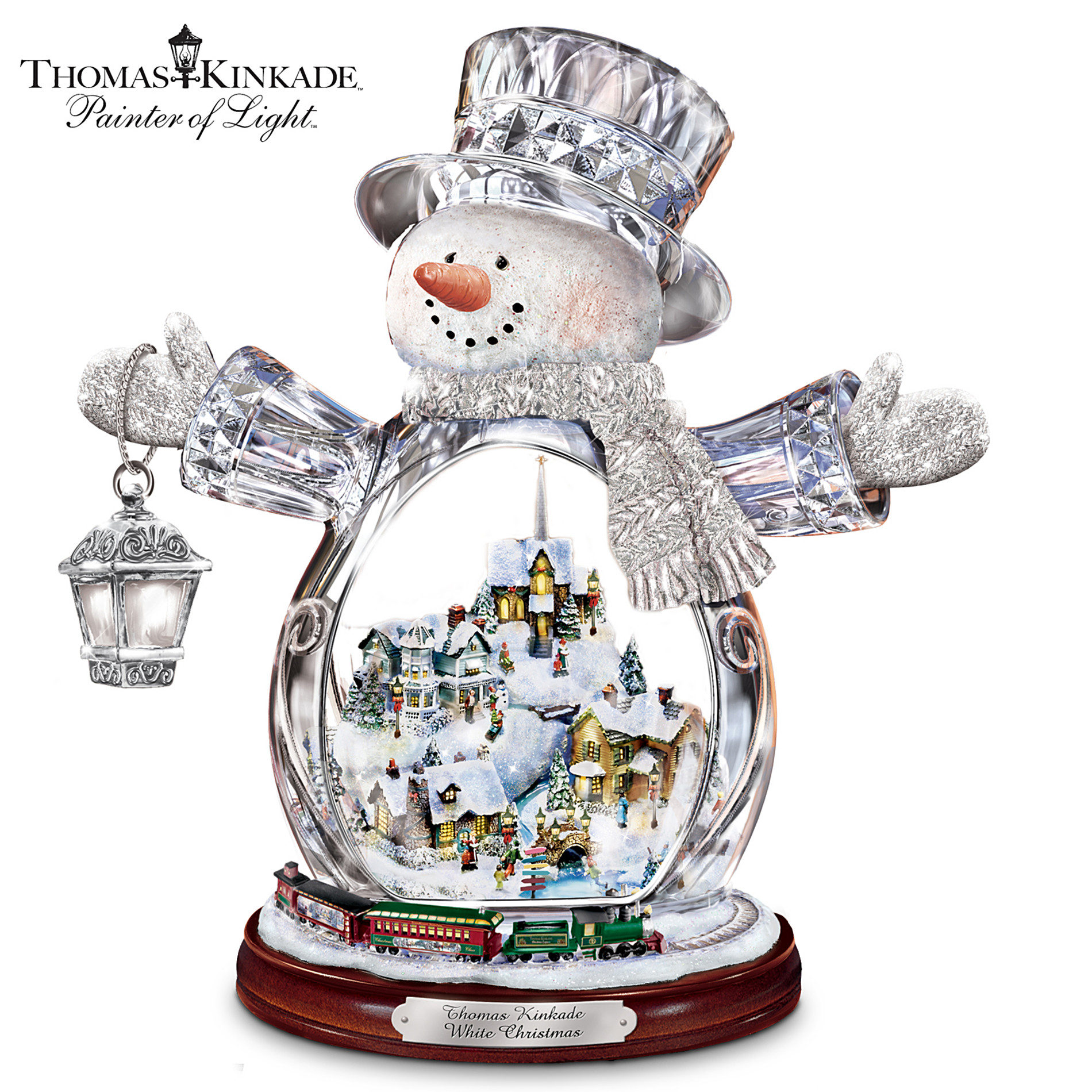 The Bradford Editions Thomas Kinkade Crystal Snowman Figurine Featuring Light-Up Village And Animated Train at Sears.com
