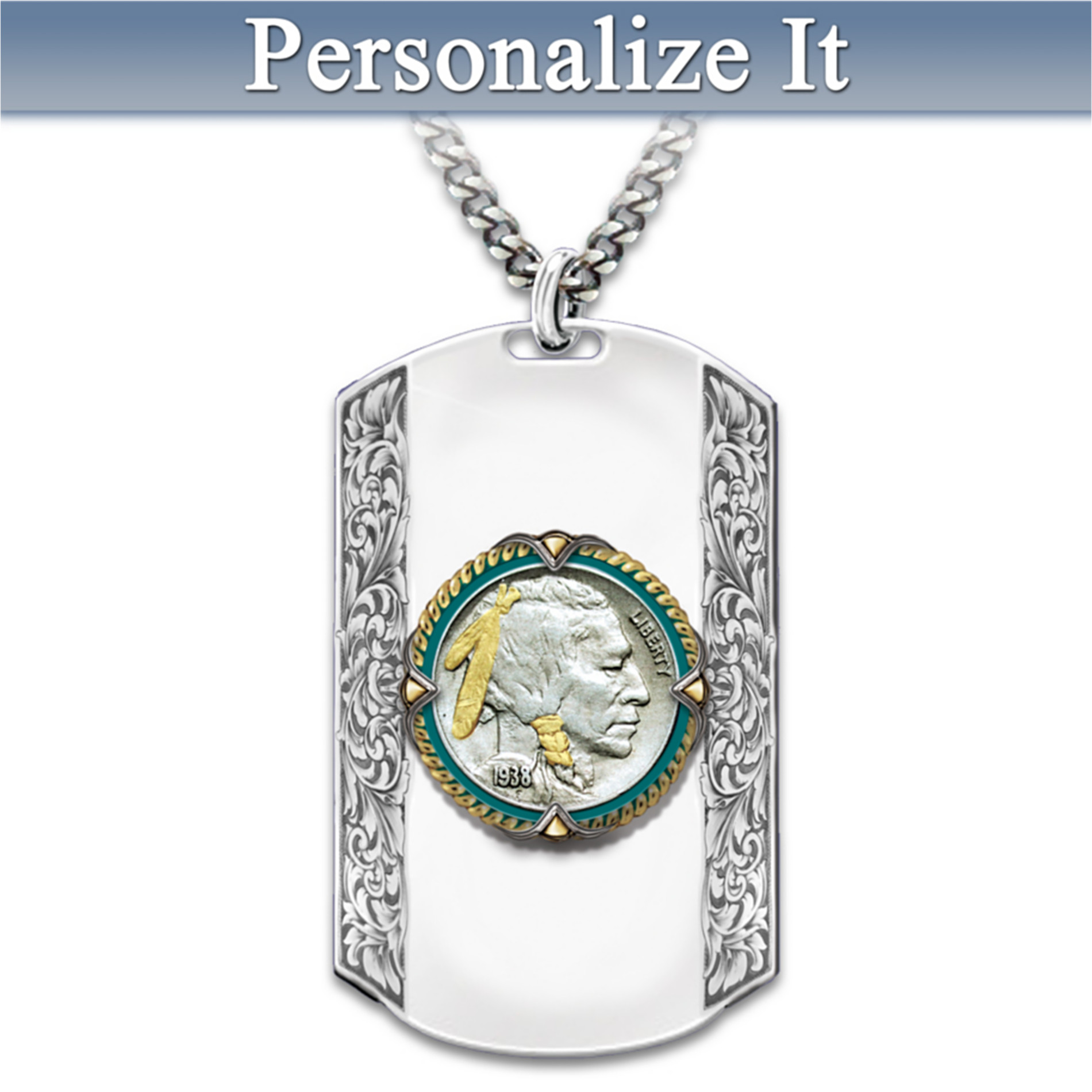 Bradford Authenticated Men's Necklace: Spirit Of The West Personalized Dog Tag Pendant at Sears.com
