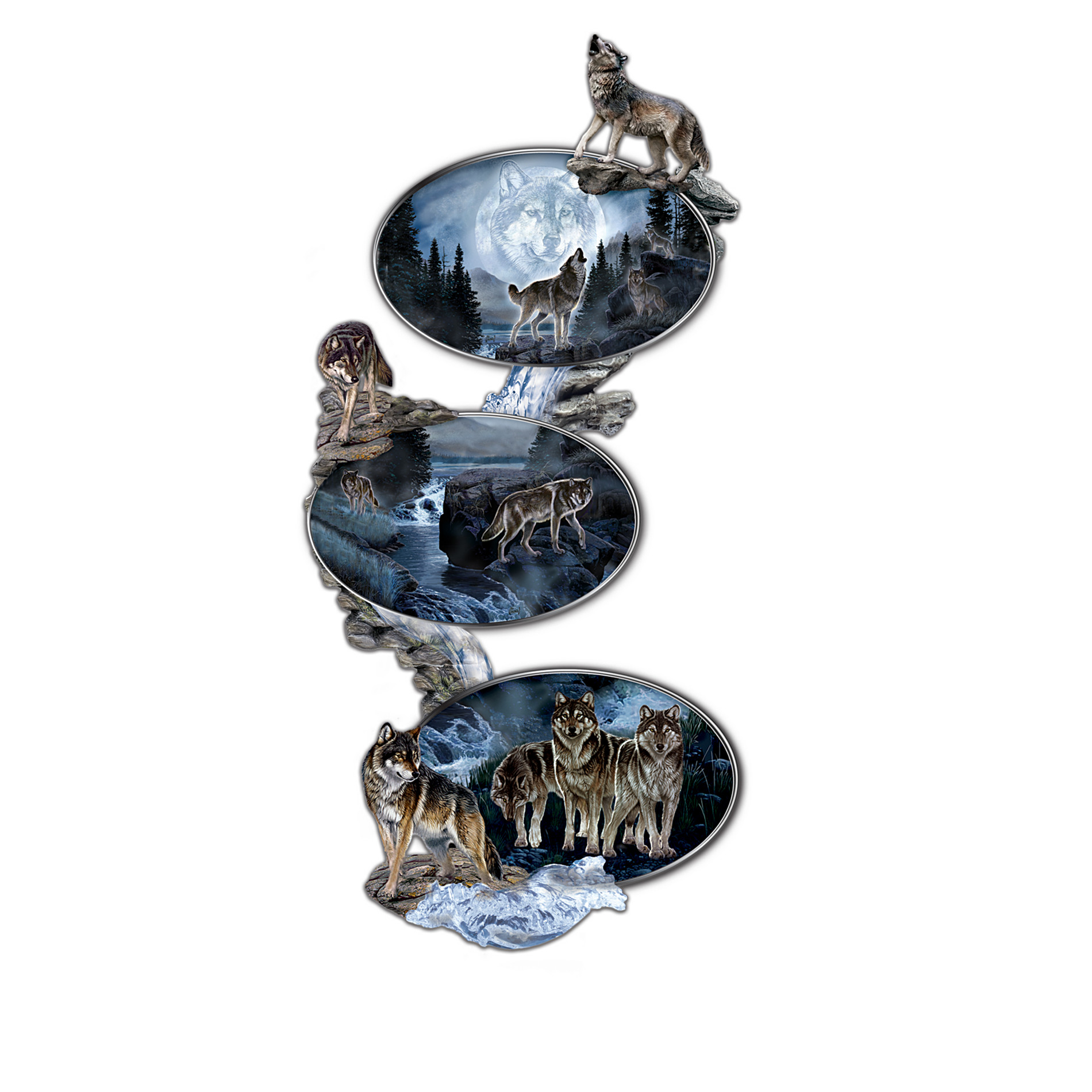 The Bradford Exchange Glow-In-The-Dark Wolf Art Heirloom Porcelain Plate Collection: Moonlight Journey at Sears.com