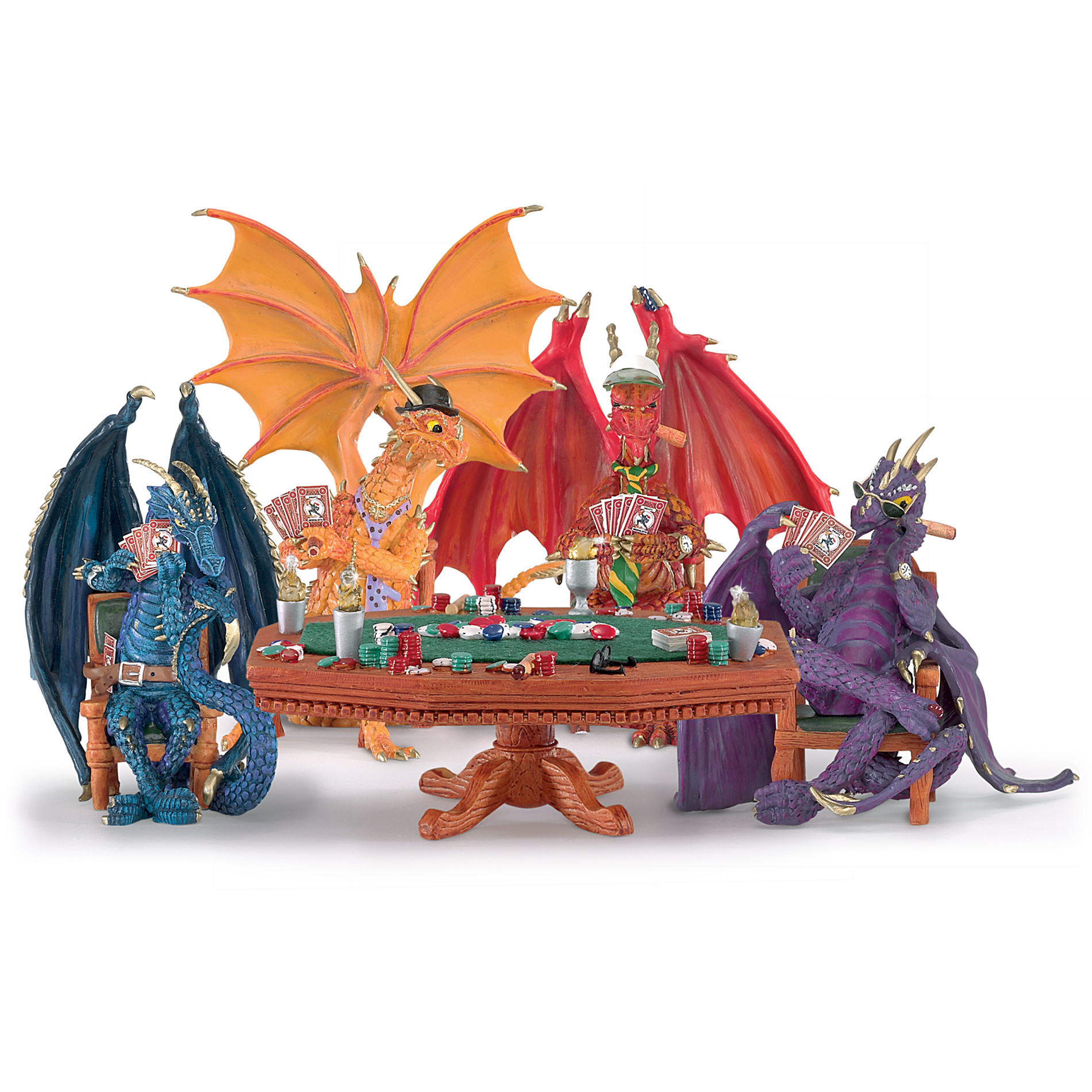 The Hamilton Collection Poker Dragons Hold 'Em Or Fold 'Em Figurine Collection at Sears.com