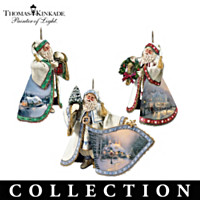 Thomas Kinkade Santa Ornament Collection: Set Of Three