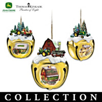 John Deere & Thomas Kinkade Sleigh Bell Ornament Collection: Set of Three