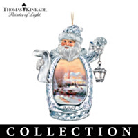 Thomas Kinkade Annual Crystal Santa Ornament Collection